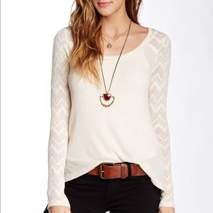 Lucky Brand Cream Long Sleeve Top